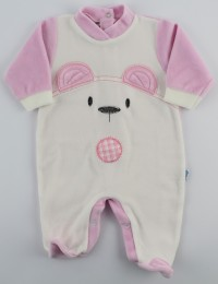 Chenille baby footie image of the white bear. Colour pink, size 0-1 month