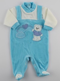 Picture baby footie chenille baby bear rainbow heart. Colour turquoise, size 3-6 months