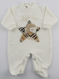 Image baby footie chenille dreams gold star Scottish. Colour creamy white, size 3-6 months