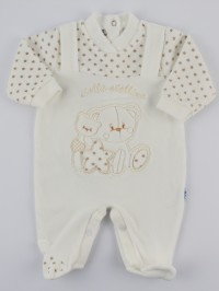 Image baby footie chenille star star. Colour creamy white, size 6-9 months