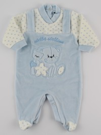 Image baby footie chenille star star. Colour light blue, size 0-1 month