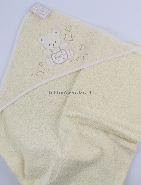 Picture accompanied baby bath baby bear dungarees in cotton. Colour creamy white, one size Creamy white One size