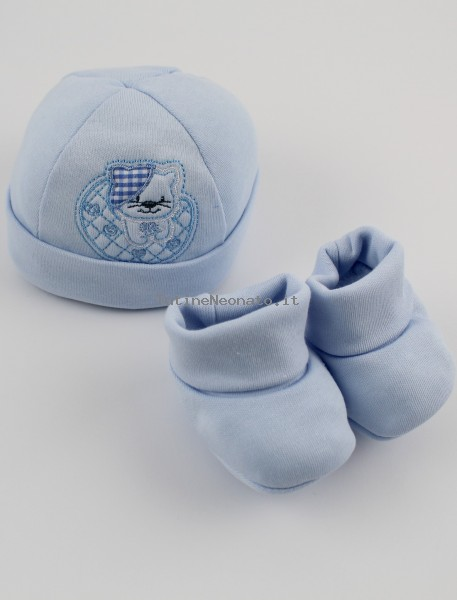 Picture hat and cotton kitten boots hat. Colour light blue, one size Light blue One size