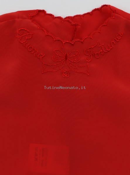 Newborn baby silk blouse good luck picture. Colour red, one size Red One size