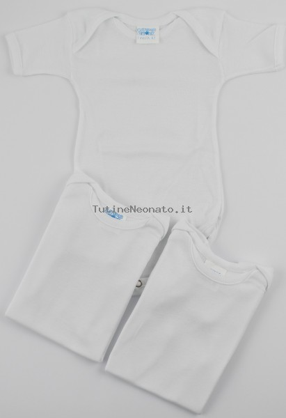 Half-sleeved cotton body image. Colour white, size 6-9 months White Size 6-9 months