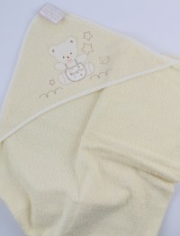 Picture accompanied baby bath baby bear dungarees in cotton. Colour creamy white, one size