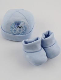 Picture hat and cotton kitten boots hat. Colour light blue, one size