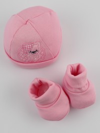 Picture hat and cotton kitten boots hat. Colour pink, one size