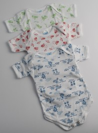 Half-sleeved printed cotton body image. Colour light blue, size 3-6 months