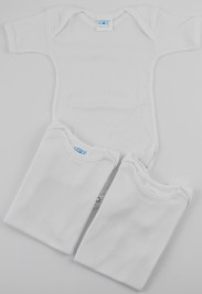 Half-sleeved cotton body image. Colour white, size 3-6 months