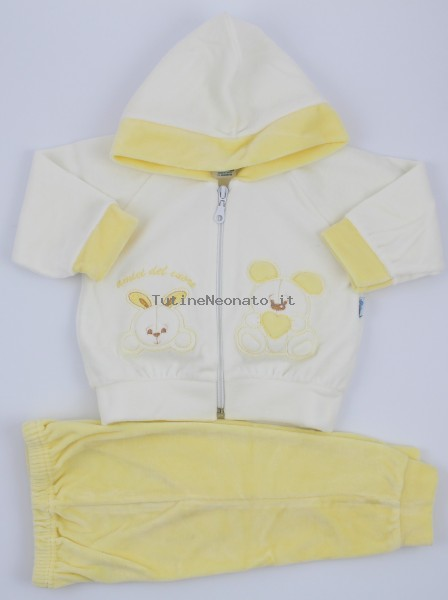 Picture tracksuit hooded bunnies heart friends. Colour yellow, size 3-6 months Yellow Size 3-6 months