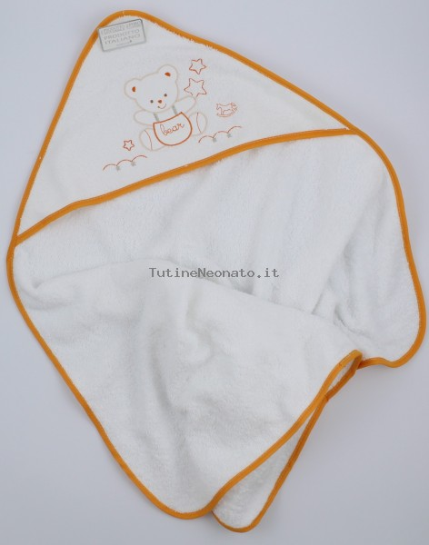 Picture accompanied baby bath baby bear dungarees in cotton. Colour orange, one size Orange One size