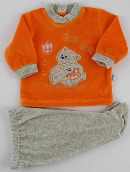 Picture baby footie chenille outfit flies balloon. Colour orange, size 1-3 months Orange Size 1-3 months