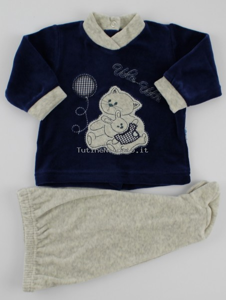 Picture baby footie chenille outfit flies balloon. Colour blue, size 1-3 months Blue Size 1-3 months