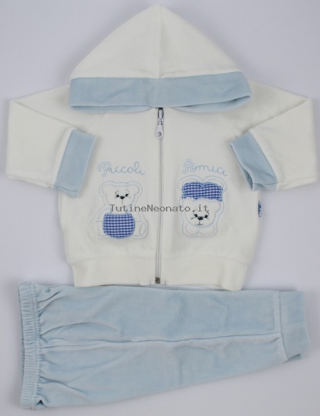 Picture Coverall Hooded Friends Bears. Colour light blue, size 1-3 months Light blue Size 1-3 months