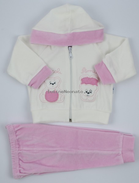 Picture Coverall Hooded Friends Bears. Colour pink, size 0-1 month Pink Size 0-1 month
