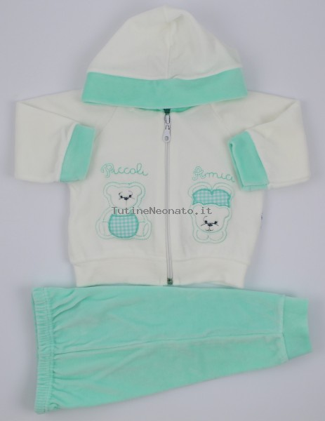 Picture Coverall Hooded Friends Bears. Colour green, size 0-1 month Green Size 0-1 month