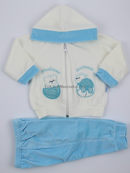 Picture hood suit let's play together. Colour turquoise, size 6-9 months Turquoise Size 6-9 months