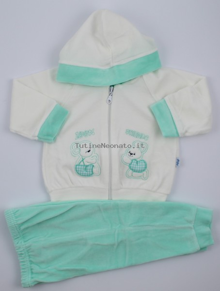 Picture friends jumpsuit hood. Colour green, size 0-1 month Green Size 0-1 month