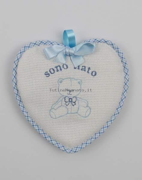Birth rosette image above cotton heart. Colour light blue, one size Light blue One size
