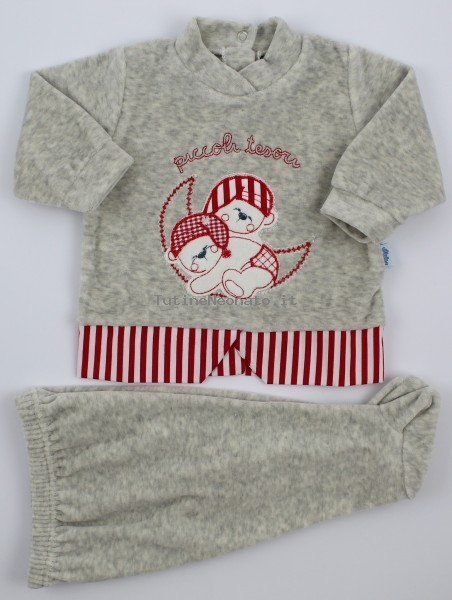 Picture baby footie chenille outfits small treasures. Colour grey, size 1-3 months Grey Size 1-3 months