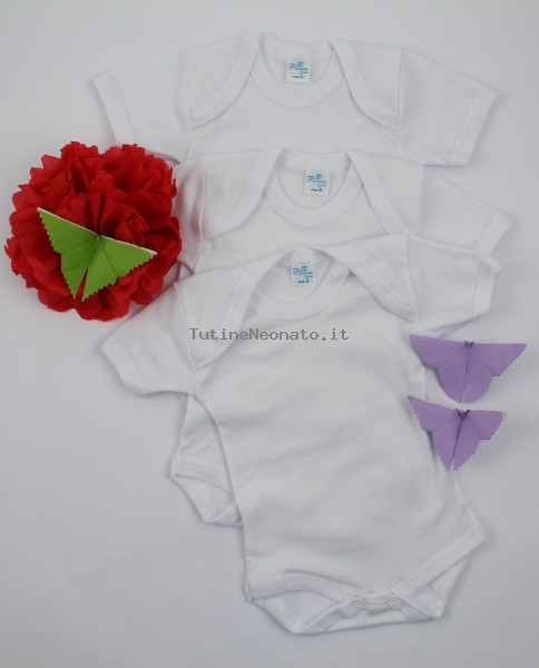 Image short sleeve body in warm cotton. Colour white, size 1-3 months White Size 1-3 months