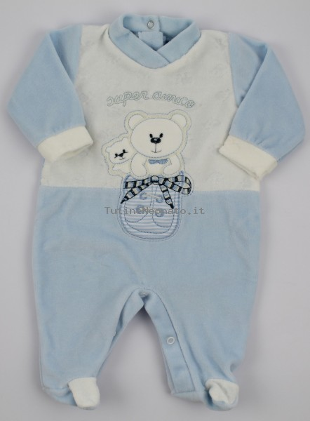 Baby image footie chenille super friend. Colour light blue, size 0-1 month Light blue Size 0-1 month