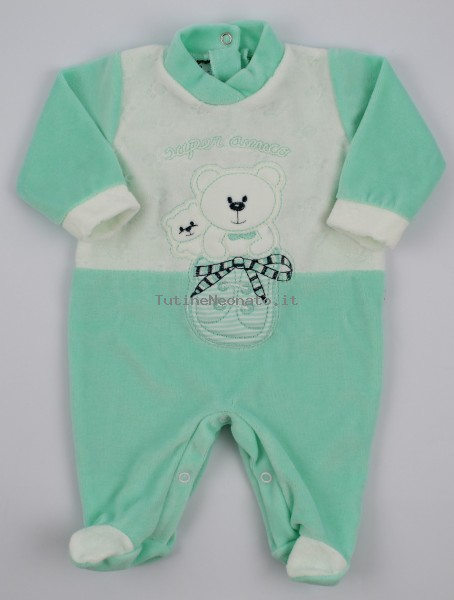 Baby image footie chenille super friend. Colour green, size 0-1 month Green Size 0-1 month
