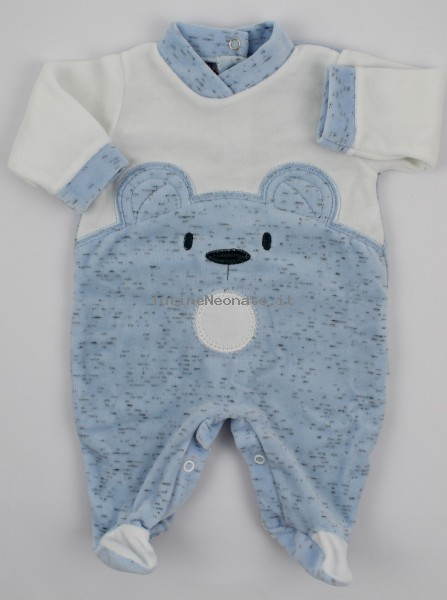 Chenille baby footie image of the melange bear. Colour light blue, size 0-1 month Light blue Size 0-1 month