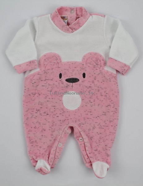 Chenille baby footie image of the melange bear. Colour pink, size 0-1 month Pink Size 0-1 month