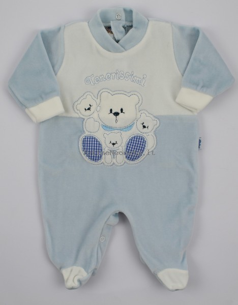 Baby footie image in chenille very tender. Colour light blue, size 1-3 months Light blue Size 1-3 months