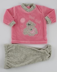 Picture baby footie chenille outfit flies balloon. Colour coral pink, size 0-1 month