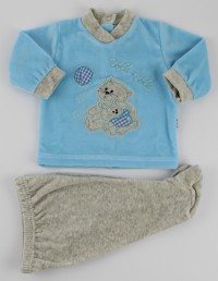 Picture baby footie chenille outfit flies balloon. Colour turquoise, size 1-3 months