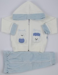 Picture Coverall Hooded Friends Bears. Colour light blue, size 0-1 month