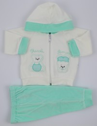 Picture Coverall Hooded Friends Bears. Colour green, size 6-9 months