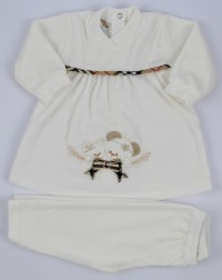 Image baby footie outfit chenille Scottish bow. Colour creamy white, size 6-9 months