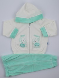 Picture friends jumpsuit hood. Colour green, size 0-1 month