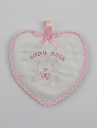Birth rosette image above cotton heart. Colour pink, one size