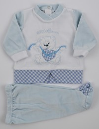 Picture baby footie chenille outfit cuddly outfits. Colour light blue, size 1-3 months