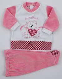 Picture baby footie chenille outfit cuddly outfits. Colour coral pink, size 1-3 months