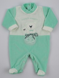 Baby image footie chenille super friend. Colour green, size 6-9 months