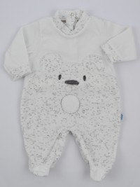 Chenille baby footie image of the melange bear. Colour white, size 3-6 months