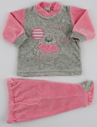 Baby footie outfit clinic chenille small baby.. Colour coral pink, size 1-3 months