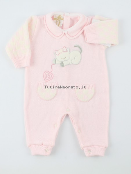 Picture baby footie mixed wool kitten. Colour pink, size 0-1 month Pink Size 0-1 month