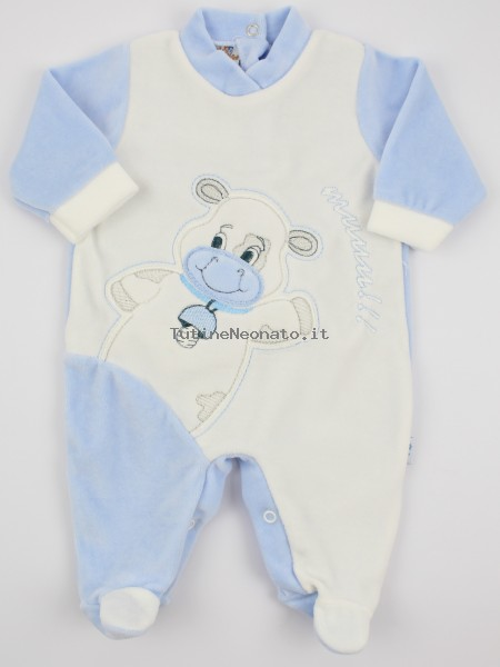 Picture baby footie chenille cow cow. Colour light blue, size 3-6 months Light blue Size 3-6 months