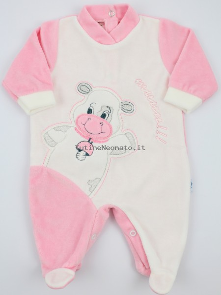 Picture baby footie chenille cow cow. Colour pink, size 0-1 month