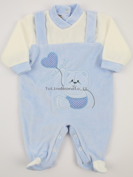 Picture baby chenille footie here I am. Colour light blue, size 6-9 months Light blue Size 6-9 months