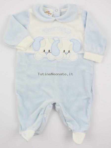 Picture baby chenille footie very tender puppies. Colour light blue, size 1-3 months Light blue Size 1-3 months
