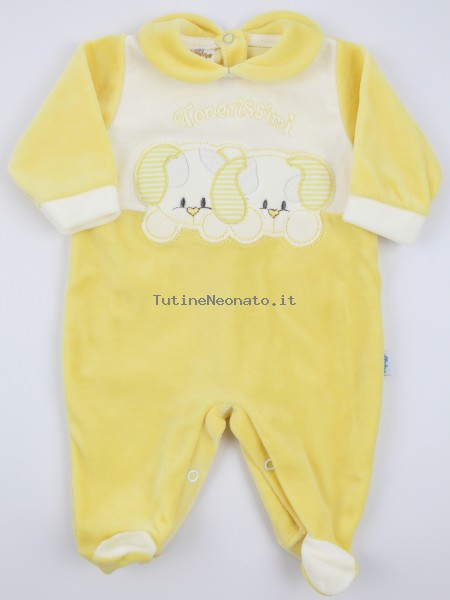 Picture baby chenille footie very tender puppies. Colour yellow, size 3-6 months Yellow Size 3-6 months