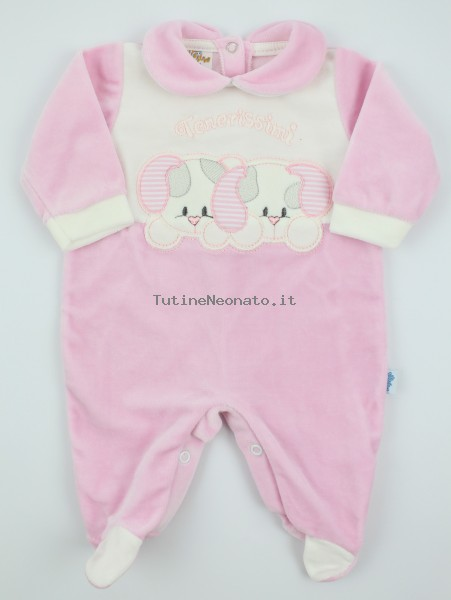 Picture baby chenille footie very tender puppies. Colour pink, size 1-3 months Pink Size 1-3 months